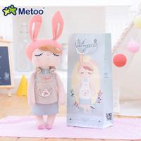 peluş bebek tavşan toptan satış-13 Inç Eşlik Uyku Angela Tavşan Peluş Doldurulmuş Hayvan Çocuk Oyuncakları Kız Çocuk Doğum Günü Noel Hediyesi Metoo Doll J190718