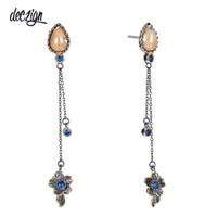 boucles d'oreilles de niveau achat en gros de-Deczign Brand New Femmes élégantes Dangle Earrings Vintage 2 Niveaux Glands Bone Bleu Couleur CZ Collection Unique WE3855