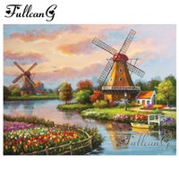 Wholesale windmill paintings resale online - FULLCANG full square round drill diy d diamond painting quot windmill landscape quot embroidery rhinestone cross stitch kits gift FC167
