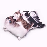 кошельки новизны подарочные пакеты оптовых-Kawaii новинка моделирование мультфильм кошка пенал мягкая ткань школы канцелярские ручка сумка подарок для девочки мальчик студент кошелек