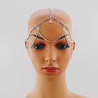 alın için mücevherat toptan satış-kadınlar için yeni varış Altın Renkli Şeffaf Kristal Kafa Saç Aksesuarları Baş Takı metal Forehead Saç Zincir baş