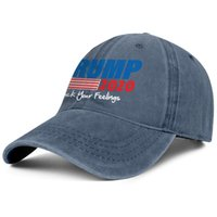 Wholesale cute ball caps for women resale online - For men and women vintage Denim caps Washed Adjustable Trump American flag design trucker hat cute Dad hats Outdoor