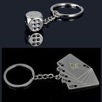 Wholesale flush car resale online - Personality Zinc Alloy Car key chain ring Spades Flush Poker keychain Good luck dice keyring pendant accessories