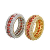 ingrosso anelli di oro grande formato-Dimensione 7-12 Hip Hop 5 Righe Red Zircone Cubico Grande Anello Oro Argento Colori per Uomo Anelli a barretta