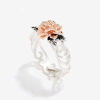 joyas para la venta de aniversario al por mayor-Rosa dorada Flor rosa y color plateado Hojas anillos de dedo 2019 venta caliente Cóctel joyas Aniversario de bodas anillo de regalos