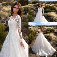 Wholesale plus size wedding dresses online - Gorgeous Ivory Sheer Long Sleeves Wedding Dresses Sexy Backless Lace Tulle Bridal Gowns Robe De Mariage New Arrival CF
