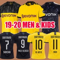 ingrosso jersey tailandia calcio-Thai BVB Borussia Dortmund Soccer Jersey 2019 2020 GOTZE REUS BRANDT HUMMELS Maglia 19 20 PACO ALCACER Football kit TOP shirt UOMO bambini insiemi