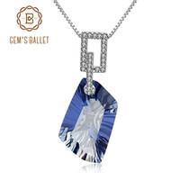 Wholesale blue quartz pendant resale online - Gem s Ballet ct Natural Iolite Blue Mystic Quartz Gemstone Pendant Necklace Sterling Silver Fine Jewelry For Women J190612