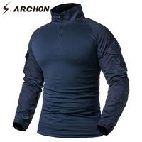 ingrosso maglietta camouflage dell'esercito-Camicia a maniche lunghe T Shirt da uomo S.ARCHON Camicia da combattimento mimetica militare blu scuro