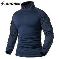 armee tarnungshemden großhandel-S.ARCHON Tactical Long Sleeve T-Shirt Herren Navy Blue Solid Camouflage Armee Kampf Shirt Paintball Kleidung