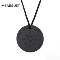 Wholesale scalar energy pendant online - sun pendant Meaeguet Men s Black Pendants Quantum Scalar Energy Pendant Sun Flower Design For Men Ions