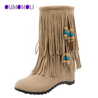 Wholesale shoes boho resale online - Adisputent Bohemian boho heel boot ethnic women tassel fringe Faux suede leather ankle boots woman girl flat shoes boots x698