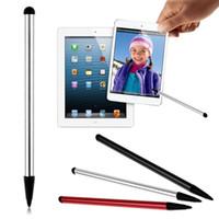 spiele für touch-handys großhandel-Universal 2 in 1 widerstrebenden kapazitiven Stylus Stift Touchscreen Metall für iPhone iPad Samsung Tablet Smartphone GPS NDS Game Player POS