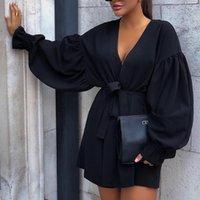 schwarze mini puff ärmel kleid großhandel-Schön Süß Puff-Ärmel Schwarz Blending Minikleid Schärpen Damenjacke Mantel billig Kleidung PUFFÄRMELN Pullover Hemd AdoryMe mit V-Ausschnitt