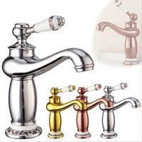 Wholesale copper plated kitchen faucet for sale - Group buy European Copper Chrome Hot And Cold Water Mixer Kitchen Bathroom Single Hole Basin Faucet
