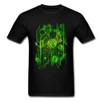 neonhemd männer großhandel-Beiläufige alle Baumwollet-shirt Männer, die T-Stücke drucken, kritzeln Digitalschaltungs-Neongrün-Herbst-Rundhalsausschnitt-Mann-T-Shirts
