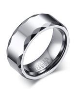 ingrosso anello di nozze di carburo di tungsteno-Anello da uomo in metallo al carburo di tungsteno con incisione alta 8MM con banda sfaccettata K3749