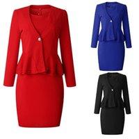 office dress outfits toptan satış-Zarif Elbise Takım Elbise Ofis Bayan Çalışma Iş Elbisesi Fırfır Peplum Elbise Sahte İki Adet Kıyafetler Kadın Moda Sonbahar Suits Setleri