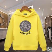 yabancı kız çocukları toptan satış-Moda Yabancı Atmosfer Kız Giysileri Yeni Desen Sıcak Tutmak Gelgit Giyim Baskı Artı Kaşmir Paketi çocuklar marka hoodies