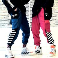 baggy hip hop harems pants toptan satış-Hip Hop Cepler Kargo Harem Joggers Pantolon Streetwear Erkekler 2019 Harajuku Rahat Kentsel Baggy Pantolon Moda Parça Pantolon