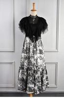 mürekkep bağbozumu toptan satış-Milan Pist Elbise 2019 Vintage Siyah Dantel Ruffles Mürekkep Hayvan Baskı Uzun Kadın Elbise Tasarımcısı Vestidos De Festa yy-49