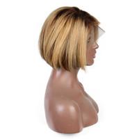 peruk bob rengi toptan satış-Golleri Renk Tam Dantel İnsan Saç Peruk Kısa Bob Peruk Brezilyalı Remy Saç 13X6 Derin Kısmı Dantel Ön Peruk 8 inç 150% Yoğunluğu