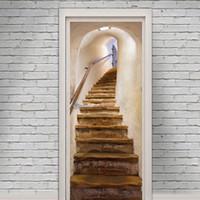 crianças brincam arte em casa venda por atacado-Escada velha porta adesivos de parede Gráfico Único Mural Cosplay Presentes para sala de estar decoração de casa Pvc Decalque papel WN653
