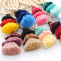 Wholesale round wooden necklace resale online - 201910 Styles Charm Bohemian Necklaces Fashion Women Wooden Round Bead with Tassels Long Sweater Chain Pendant Necklace Jewelry M799F