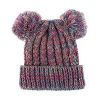 Wholesale kid beanie hat crochet resale online - Kid Knit Crochet Beanies Hat Girls Soft Double Balls Winter Warm Hat Colors Outdoor Baby Pompom Ski Caps WCW710