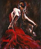 dansçılar petrol kanvas abstract toptan satış-Tuval Duvar Dekor Yağı Soyut Resim Oturma Odası Ofis için İspanyol Flamenko Dansçısı Kırmızı Elbise Dansçı Boyama Handpainted