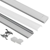 cubierta de perfil de tira de led al por mayor-Sistema de canal de aluminio LED en forma de U de 3.3 pies / 1 metro con cubierta, tapas finales y clips de montaje Perfil de aluminio para instalaciones de luz de tira LED