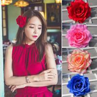 ingrosso fotografie del fiore della sposa-20 stile copricapo fiore nuovo fai da te copricapo accessori per capelli per la cerimonia nuziale nuziale affollamento panno rosa rossa fiore forcina clip di capelli