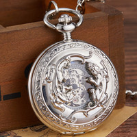 Wholesale mens fob chain for sale - Group buy 2019 New Silver Skeleton Mechanical Pocket Watch Men Hollow Steampunk Bronze Mechanical FOB Chain Mens Clock