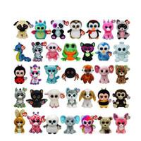 küçük doldurulmuş oyuncaklar toptan satış-Çocuk Oyuncak Yılbaşı Hediyeleri 50pcs 2019 Yeni Ty Beanie Boos Büyük Gözler Küçük Peluş Oyuncak Bebek Kawaii Doldurulmuş Hayvanlar