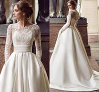 Wholesale wedding dresses turkey for sale - Group buy Modest Long Sleeve Wedding Dresses with Pockets Scoop Satin Appliqued A Line Bridal Gowns Turkey Vestidos de Novia Sweep Train