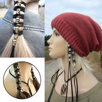 antiker metallschädel großhandel-Haar Seil Vintage Punk Metall Schädel Haarband Ornamente Frauen Pferdeschwanz Styling Headwear DIY Zubehör Antik mit 6 Anhänger