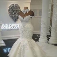 vestido muçulmano fishtail venda por atacado-2019 vestidos de casamento Custom Made Luxo Dubai Árabe Sereia Mais de Cristais Beading Tamanho Vestidos Tribunal de Comboios de casamento vestido de noiva