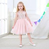 kız diz uzunluğu pembe elbiseler toptan satış-Perakende kızlar pullu mesh diz boyu elbise bebek pembe gri prenses etekler çocuklar moda tasarımcısı elbise çocuk butik durum elbiseler