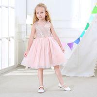 meninas joelho comprimento rosa vestidos venda por atacado-Varejo meninas lantejoulas de malha na altura do joelho vestido de bebê rosa cinza princesa saias crianças designer de moda vestido de crianças boutique ocasião vestidos