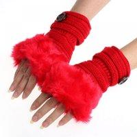 mão de tricô venda por atacado-Mulheres Luvas Luvas Mais Quentes Fingerle Faux Braço Inverno Pulso De Malha De Pele Quente Sem Dedos Coelho Quente Inverno Feitong Pulso Longo Mão