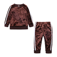 Wholesale girls corduroy trousers resale online - Baby Suit Pants Boys Girls Corduroy Suit Long Sleeve Trousers Round Neck Two Piece Kids Clothing
