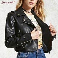 braune lederjacke xl kurz großhandel-Star / Stud Spike Leather Jacket Damen Brown Jacket Moto Coat-Jacke mit Casaco Chaquetas Chain Punk Short Blazer-Reißverschluss