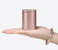 tee zinn quadrat metall großhandel-47x65mm Kleine Zylinder Schöne Metall Box Tee Zinn Box Aufbewahrungsbox Platz Versiegelt Dosen Kaffee Tee Zinn Container SN2961