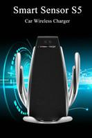 iphone araba kelepçesi toptan satış-10 w kablosuz araç şarj s5 otomatik sıkma hızlı şarj telefon tutucu iphone huawei samsung akıllı telefon için arabada ...