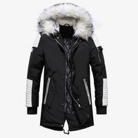 черный мех с капюшоном длинный parka оптовых-Черный Длинные Человек Зимняя куртка Мужчины теплый меховой капюшоном 2019 мужские куртки и пальто молнии вниз Мужчины Parkas
