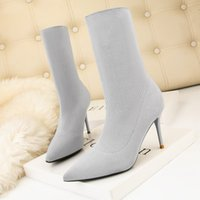 Wholesale knitted ankle shoes resale online - SEGGNICE Sexy Sock Boots Knitting Stretch Boots High Heels For Women Fashion Shoes Spring Autumn Ankle