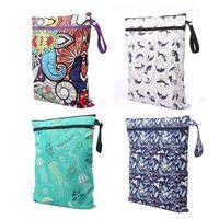 Wholesale nappy waterproof resale online - Baby Nappy Storage Bag Protable Waterproof Reusable Washable Wet Dry Cloth Zipper Diaper Bag Baby Nursing TTA2048