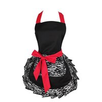 Wholesale sexy lace aprons resale online - Black Lace Flirty Apron with Pocket Fun Retro Sexy Kitchen Cooking Pinup Aprons for Women Girls