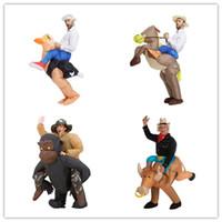 vaca halloween trajes adulto venda por atacado-Brown Cowboy Horse Outfit engraçado traje Inflável Halloween Carnaval Cosplay Cow boy Rider Cavalo Traje Inflável Para Adultos
