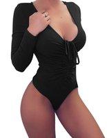 uma peça leotard bodysuit venda por atacado-Sexy De Malha De Algodão Bodysuit Mulheres Manga Comprida Bodysuits One-Piece Collant Top Mulheres Skinny Corpo Tops Lace Up Macacão Skinny